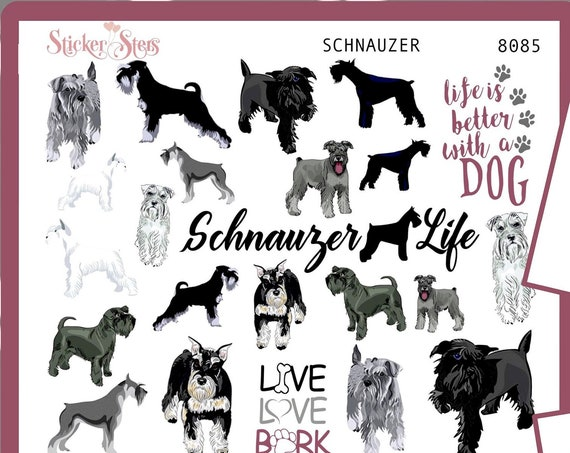 Schnauzer | 8085 4 Page Complete canine care stickers for all planners, Cute and Functional