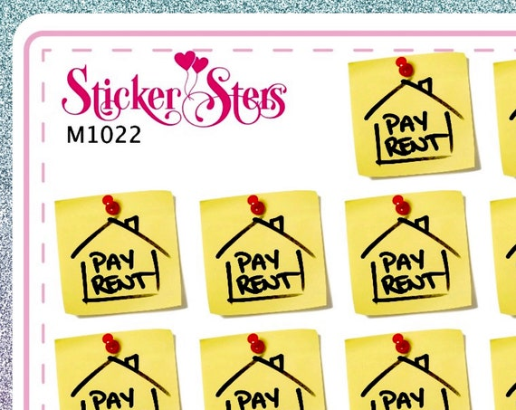 Rent Due Small Sheet Planner Stickers Set Cute and Functional made for all Planners M1022