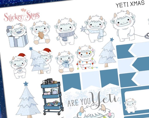 Yeti Christmas Planner Mini Sticker Set  | 8269 Planner Stickers