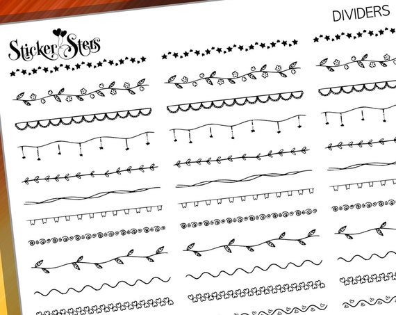 Dividers, Borders and Headers Doodles Foil Option Available | F272 Planner Stickers