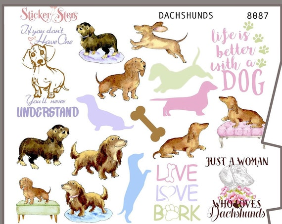 Dachshund | 8087 4 Page Complete canine care stickers for all planners, Cute and Functional