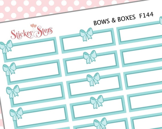 Mint Bows & Boxes| F144 Planner Stickers