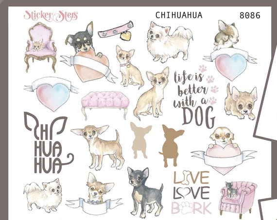 Chihuahua | 8086 4 Page Complete canine care stickers for all planners, Cute and Functional