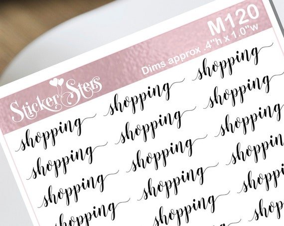 Shopping Typography Small Sheet Planner Stickers Set Cute and Functional made for all Planners