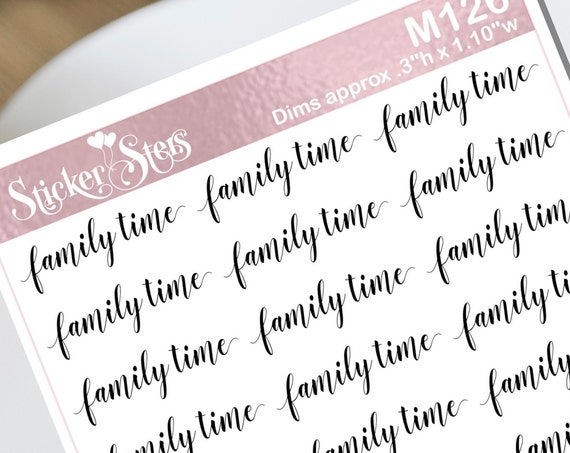 Family Time Typography Small Sheet Planner Stickers Set Cute and Functional made for all Planners