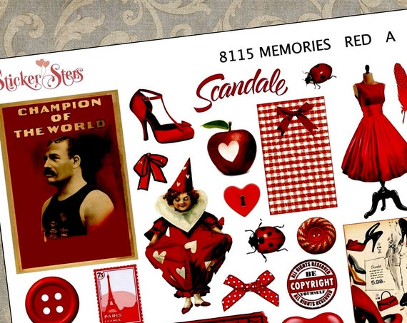 Red Themed Ephemera Mini Kit | 8115