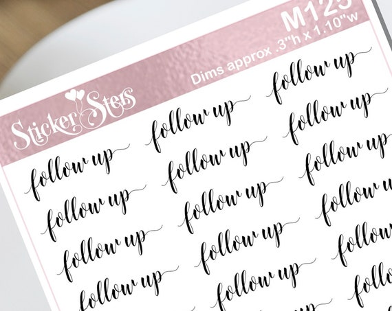 Follow up Typography Small Sheet Planner Stickers Set Cute and Functional made for all Planners