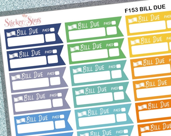 Bills Due 39 Individual Sticker Reminders  | F153 Planner Stickers