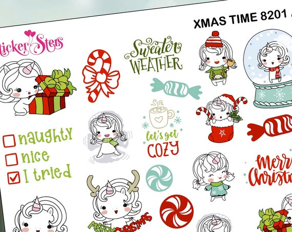 Xmas Time Unicorn Doodle Style Planner Stickers Stickers Mini Kit | 8201