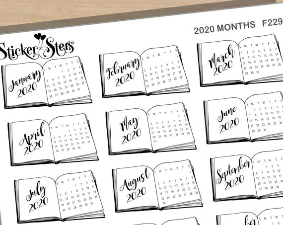 Calendar Months Book Foil Option Available | F229 Planner Stickers