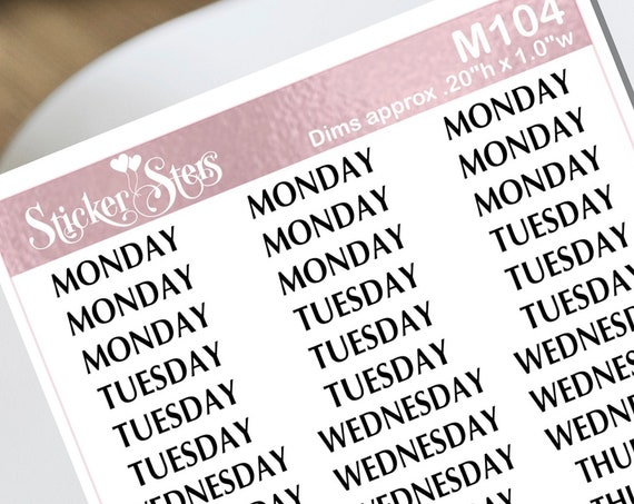 Days of the Week Small Sheet Planner Stickers Set Cute and Functional made for all Planners