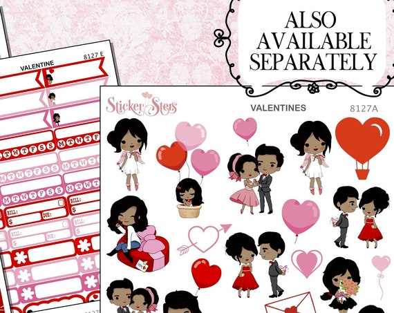 Valentine Planner Stickers Kit | 8127 African American