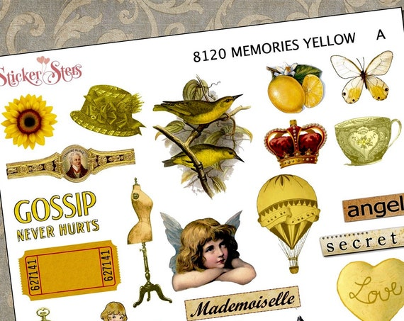 Yellow Themed Ephemera Mini Kit | 8120