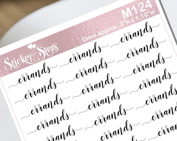 Errands Typography Small Sheet Planner Stickers Set Cute and Functional made for all Planners