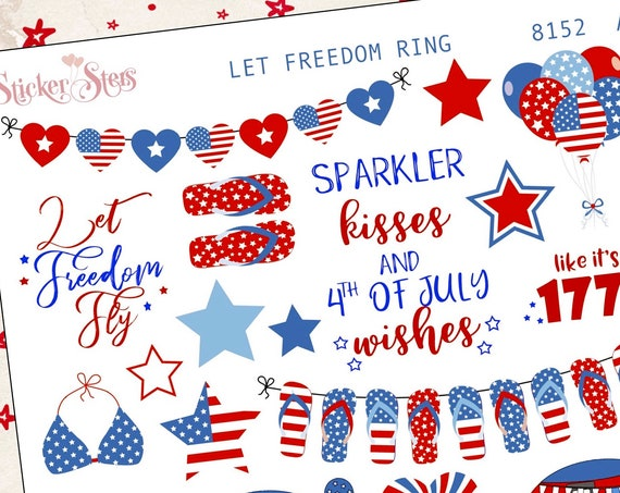Let Freedom Ring 4th of July Independence Day Planner Stickers Stickers Mini Kit | 8152