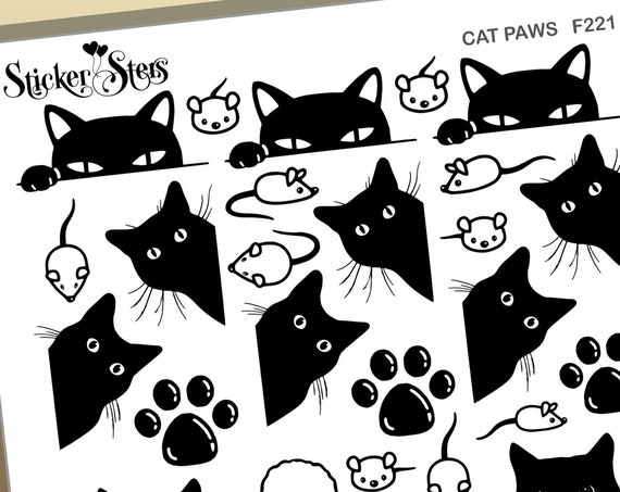 Cat Paws Foil Option Available | F221 Planner Stickers