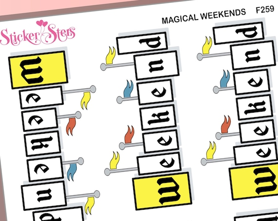"Magical Weekends 6 Large 3"" wide Stickers Plus 3 Small Stickers 