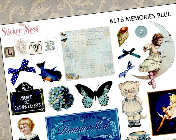 Blue Themed Ephemera Mini Kit | 8116