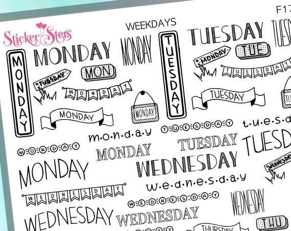 Weekdays Foil Options Available | F205 Planner Stickers