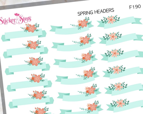 Spring Headers Banner Pennant | F90  Planner Stickers