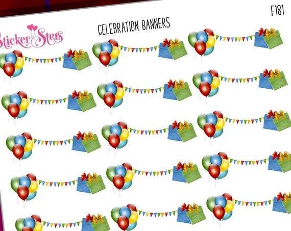 Celebration Party Banner Reminders Cute Headers  | F181 Planner Stickers