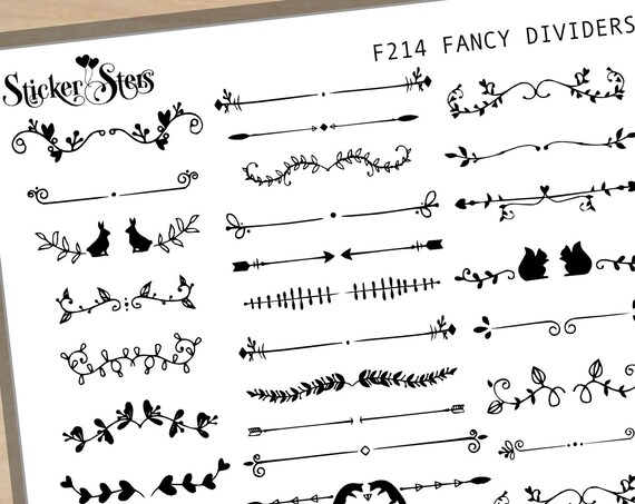 Fancy Dividers Foil Options Available | F214 Planner Stickers