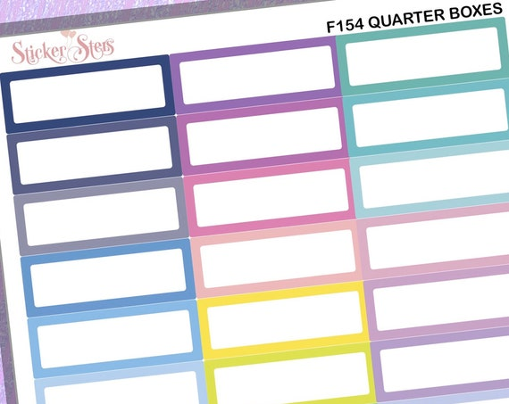 Quarter Boxes 39 Individual Box Reminders Colorful  | F154 Planner Stickers