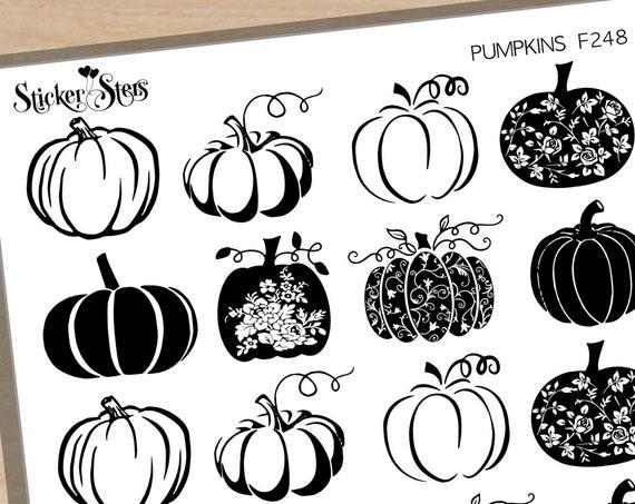 Elegant Pumpkins Foil Option Available | F248 Planner Stickers