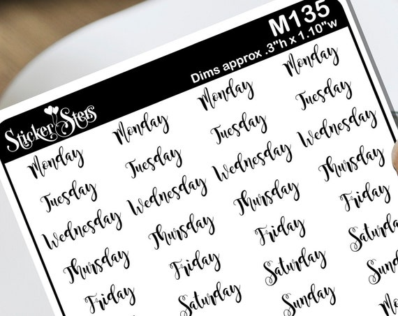 Weekdays Foil Option Available | M135 Planner Stickers