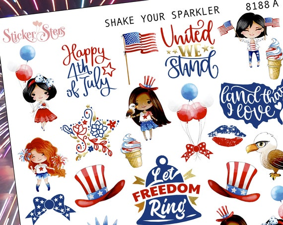 Shake your Sparkler 4th of July Independence Day Planner Stickers Stickers Mini Kit | 8188