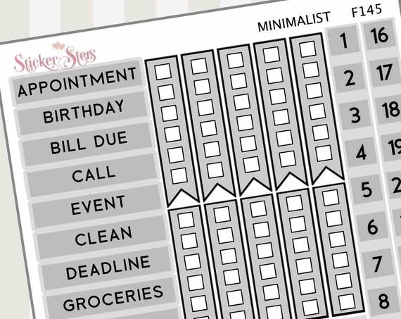 Gray Minimalist | F145 Planner Stickers