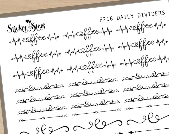 Daily Dividers Foil Option Available | F216 Planner Stickers