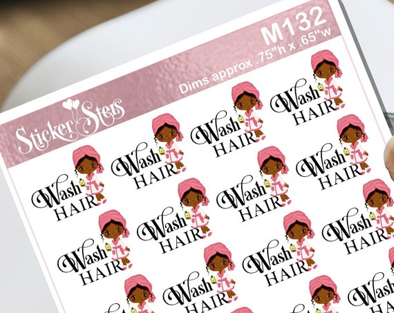 Wash Hair African American Small Sheet Planner Stickers Set Cute and Functional made for all Planners M132