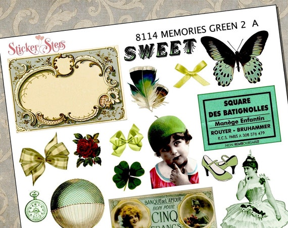 Memories Green Themed Ephemera Mini Kit | 8114