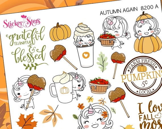 Autumn Again Unicorn Doodle Style Planner Stickers Stickers Mini Kit | 8200