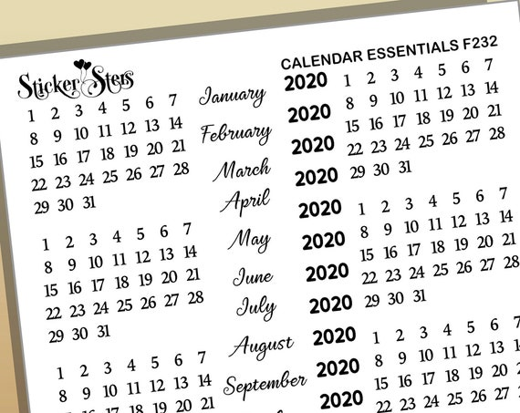 Calendar Essentials Foil Option Available | F232 Planner Stickers