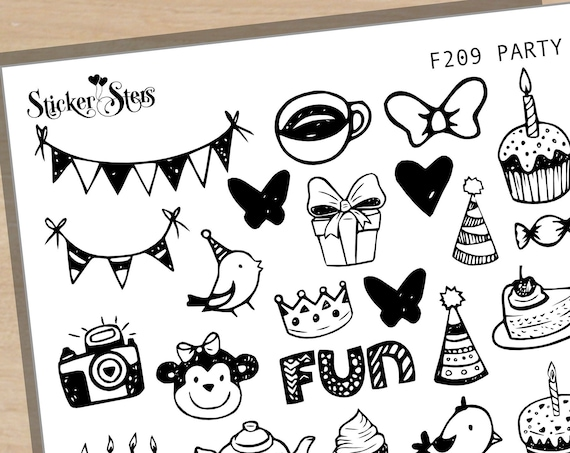 Party Birthday Foil Options Available | F209 Planner Stickers
