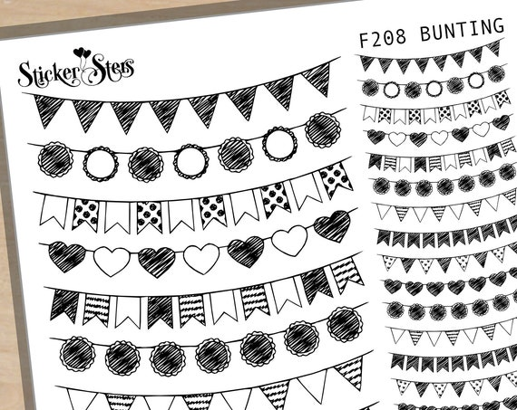 Bunting Flags Pennants Foil Options Available | F208 Planner Stickers