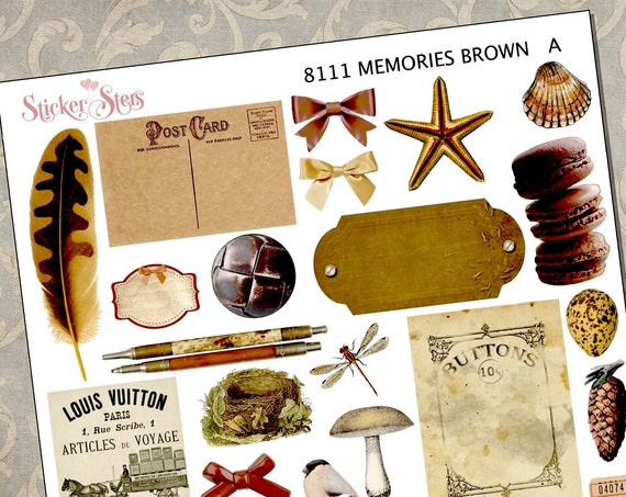 Memories Brown Themed Ephemera Mini Kit | 8111