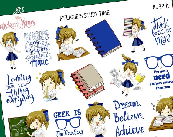 Melanie's Study Time Planner Stickers Stickers Mini Kit | 8182