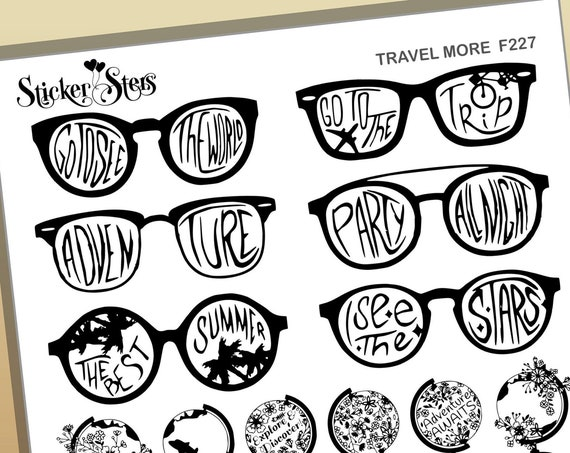 Travel More Vacation See the World  Foil Option Available | F227 Planner Stickers