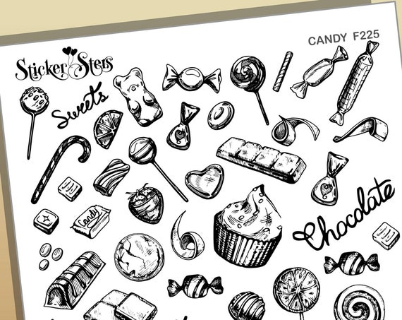 Candy Sweets Chocolate Lollipops Dulce Foil Option Available | F225 Planner Stickers