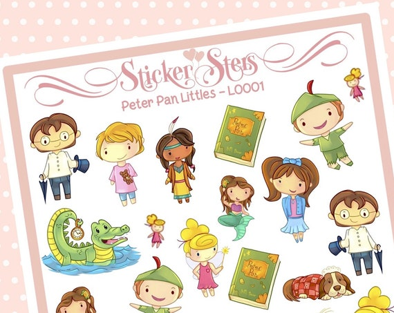Cute Littles Peter Pan L0001 Small Sheet Planner Stickers Set Cute and Functional made for all Planners