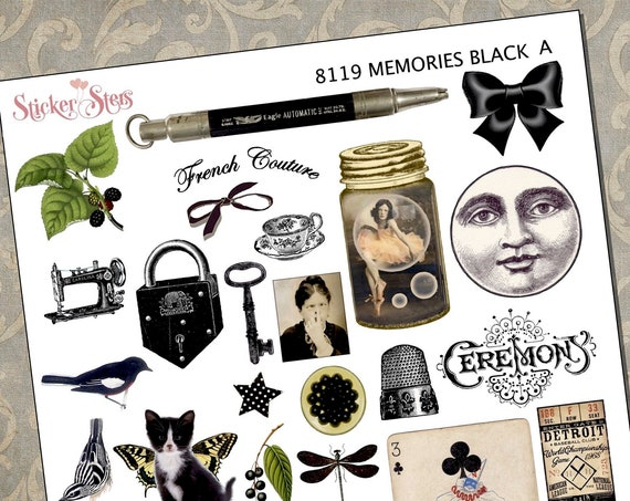 Black Themed Ephemera Mini Kit | 8119