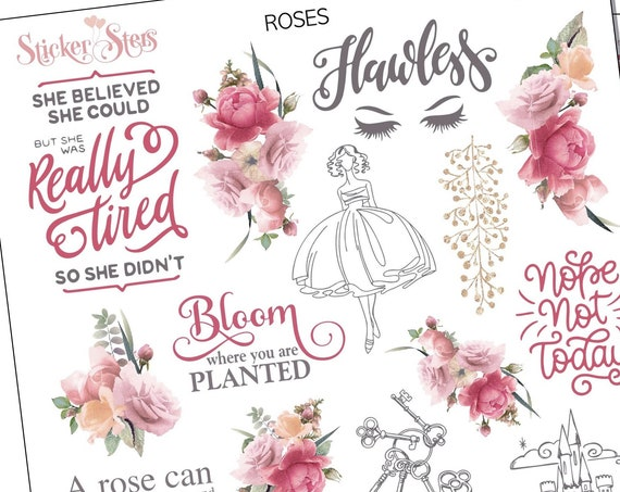Roses Planner Stickers Stickers Mini Kit | 8154