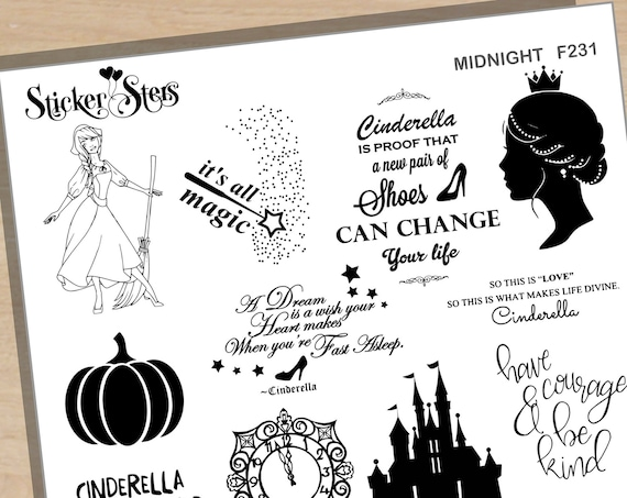 Midnight Glass Slipper  Foil Option Available | F231 Planner Stickers