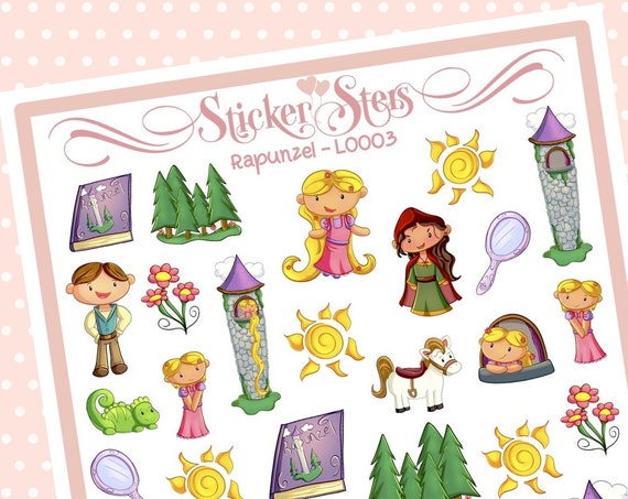 Cute Littles Rapunzel L0003 Small Sheet Planner Stickers Set Cute and Functional made for all Planners