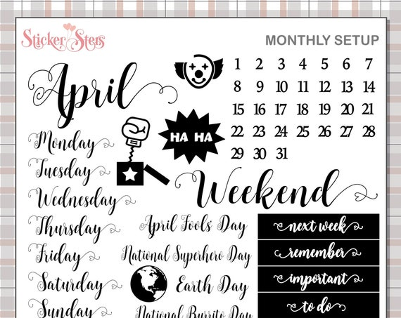 APRIL Planner Stickers