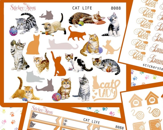 Cat Life | 8088 4 Page Complete feline care stickers for all planners, Cute and Functional