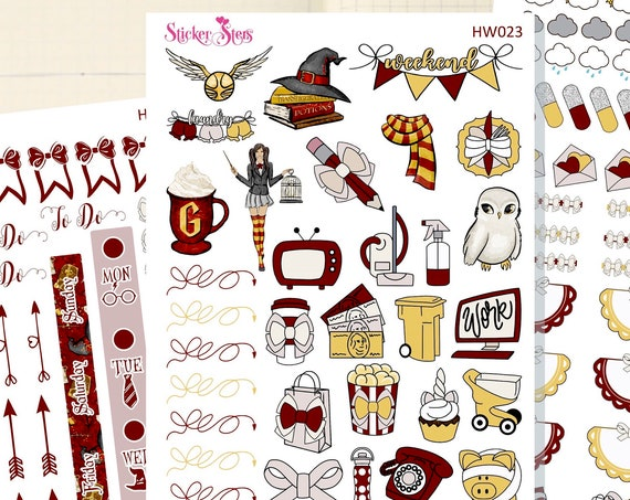 Wizard School Red Slim Planner Stickers Mini Kit | HW023